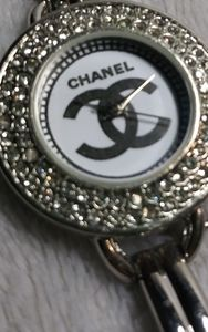 Silver tone Watch multistones homage to Chanel